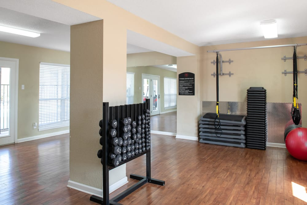 Gym at Raiders Walk apartments in Lubbock