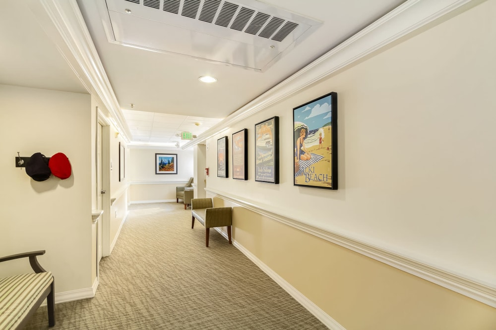 Spacious hallways and apartment entrances at our senior living community in Seattle, WA