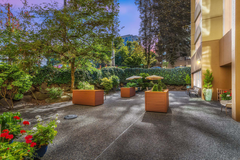 Wonderful and bright back patio with garden boxes at our senior living community in Seattle, WA