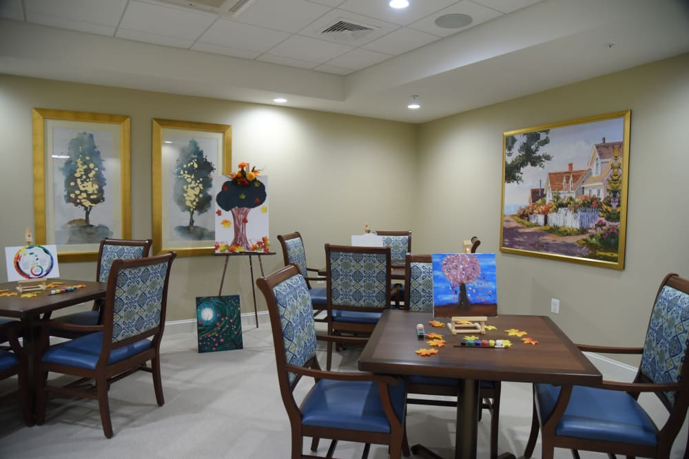 Activity room at Symphony at Cherry Hill in Cherry Hill, New Jersey.