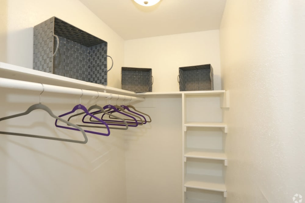 EnVue Apartments showcases a walk-in closet in Bryan, Texas