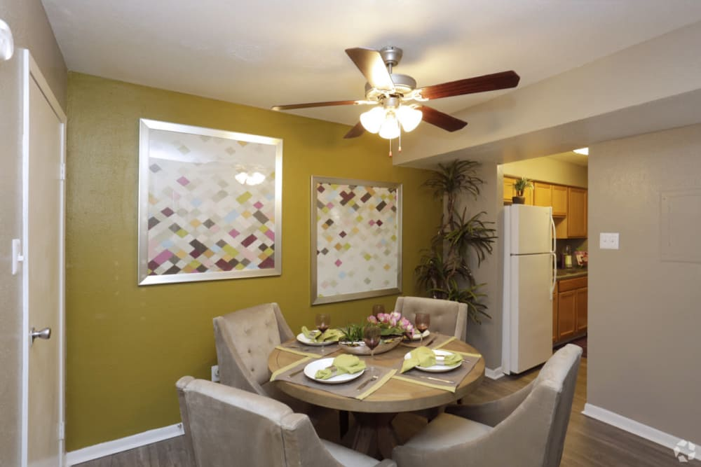 Well-lit dining area at EnVue Apartments in Bryan, Texas