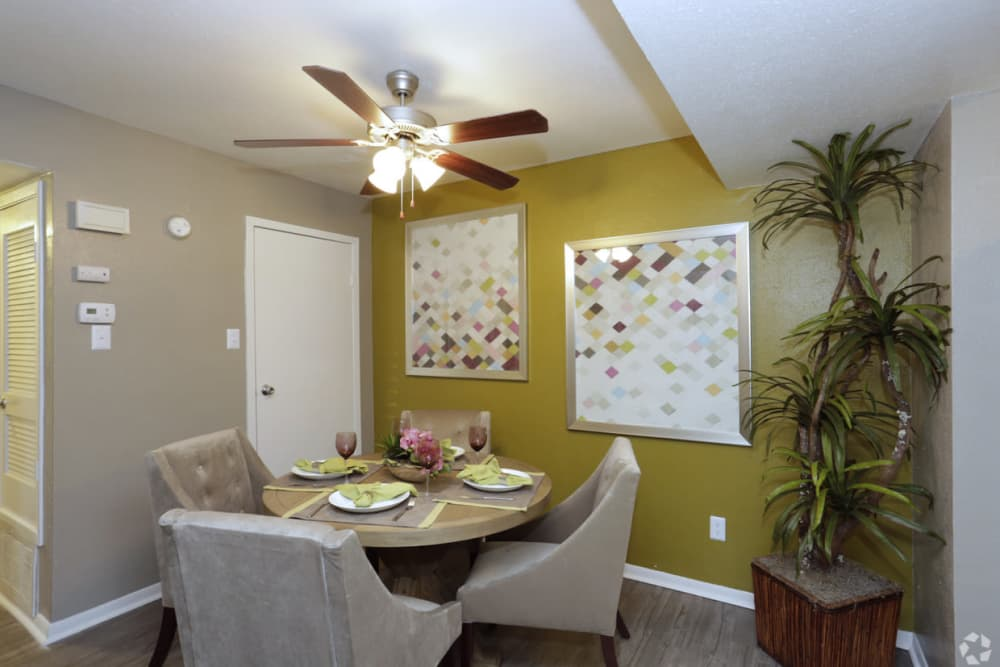 Well decorated dining room at EnVue Apartments in Bryan, Texas
