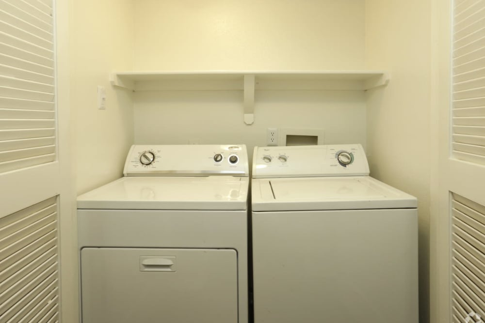 Washer and dryer at EnVue Apartments in Bryan, Texas