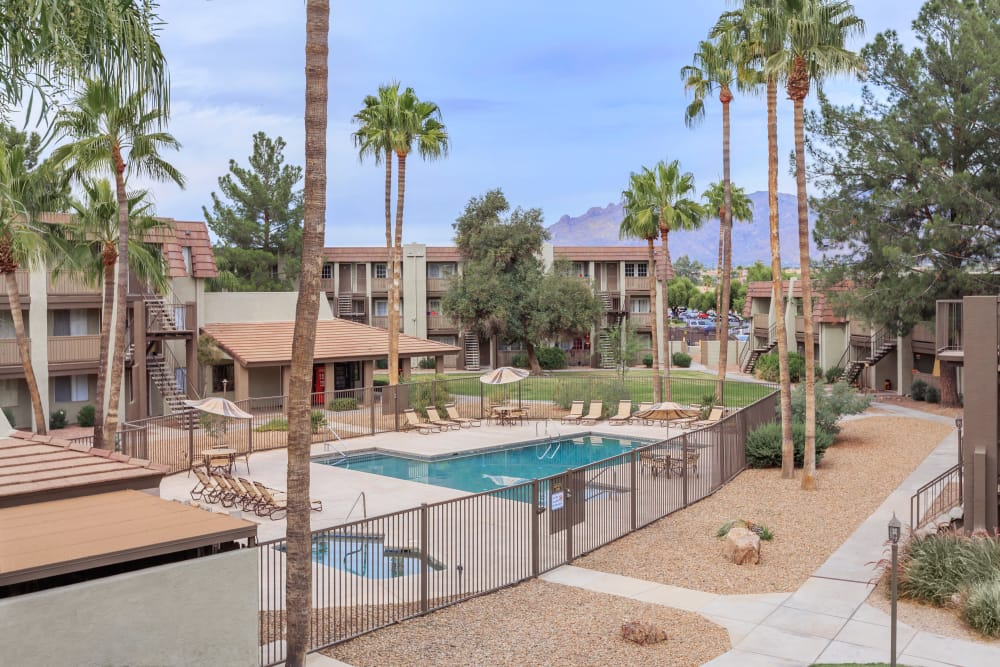 View of our apartments and swimming pool at Verde Apartments in Tucson, Arizona