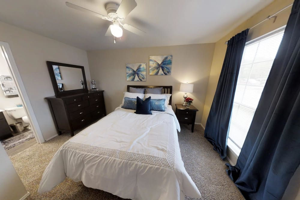Large bedroom at Brookmore Hollow Apartments in Rosenberg, Texas