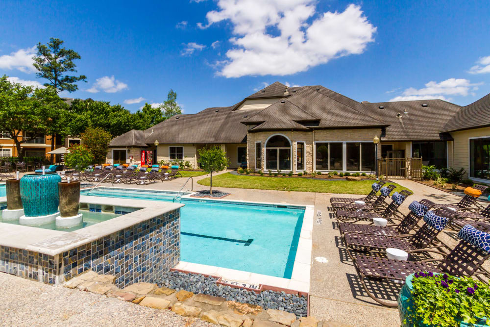 Sparkling pool on a sunny day at Legacy at Cypress in Cypress, Texas