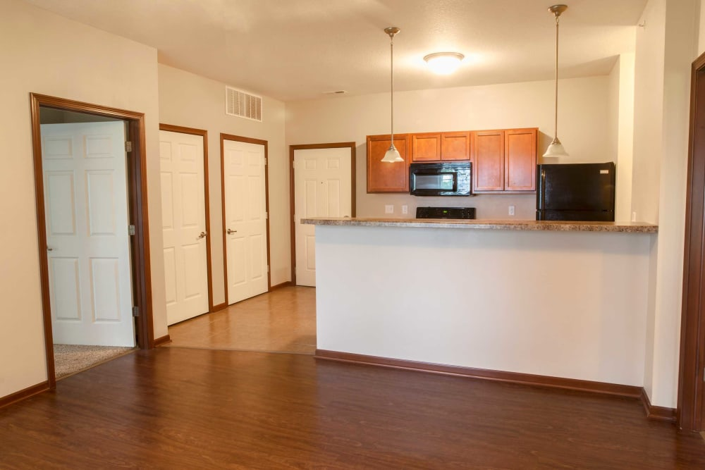 Kitchen and living room at Westwood Village in Ames, Iowa