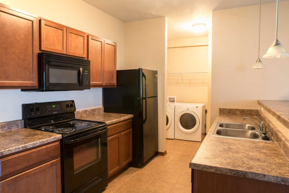 Apartment kitchen at Westwood Village in Ames, Iowa