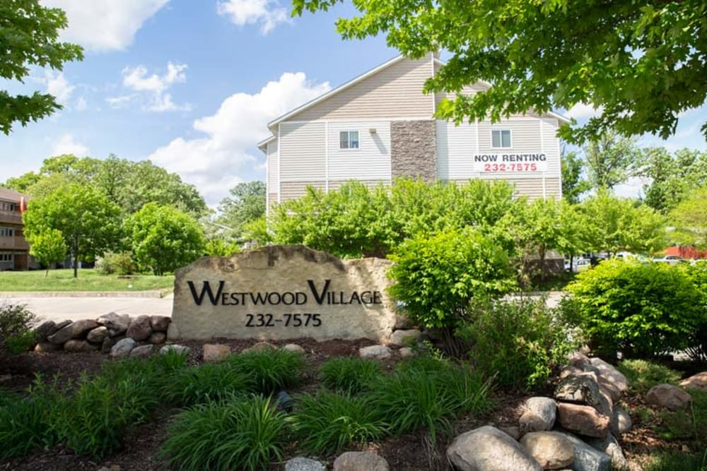 Building exterior and main sign at Westwood Village in Ames, Iowa
