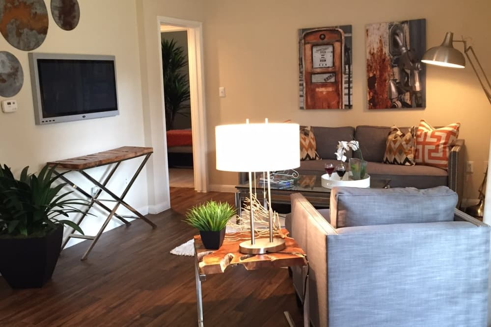 Enjoy a modern living room at Parc @ Champion Forest in Houston, Texas