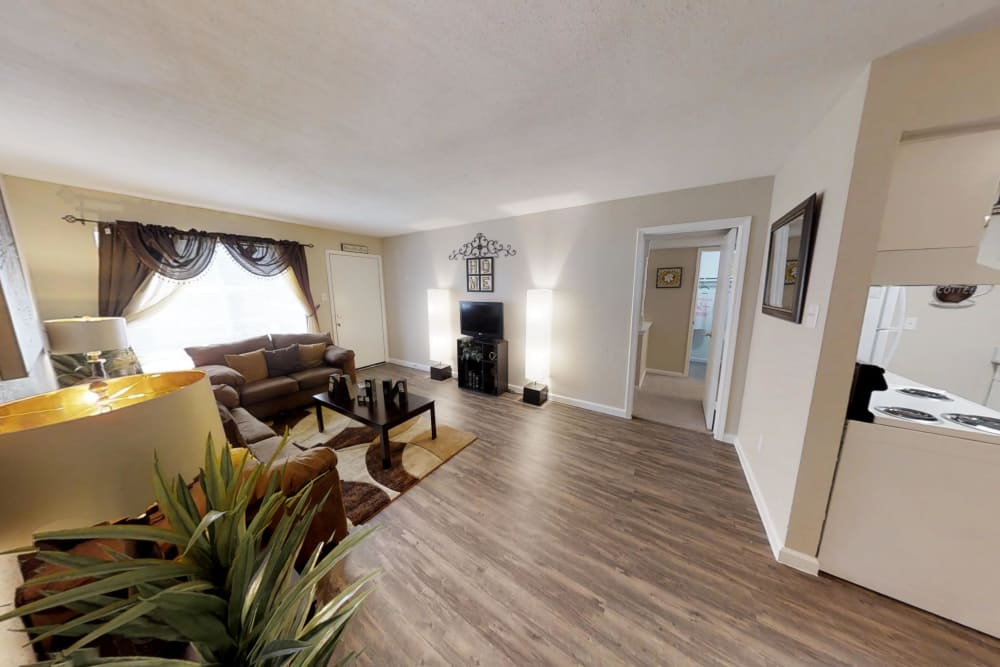 Our apartments in Humble, Texas showcase a renovated living room