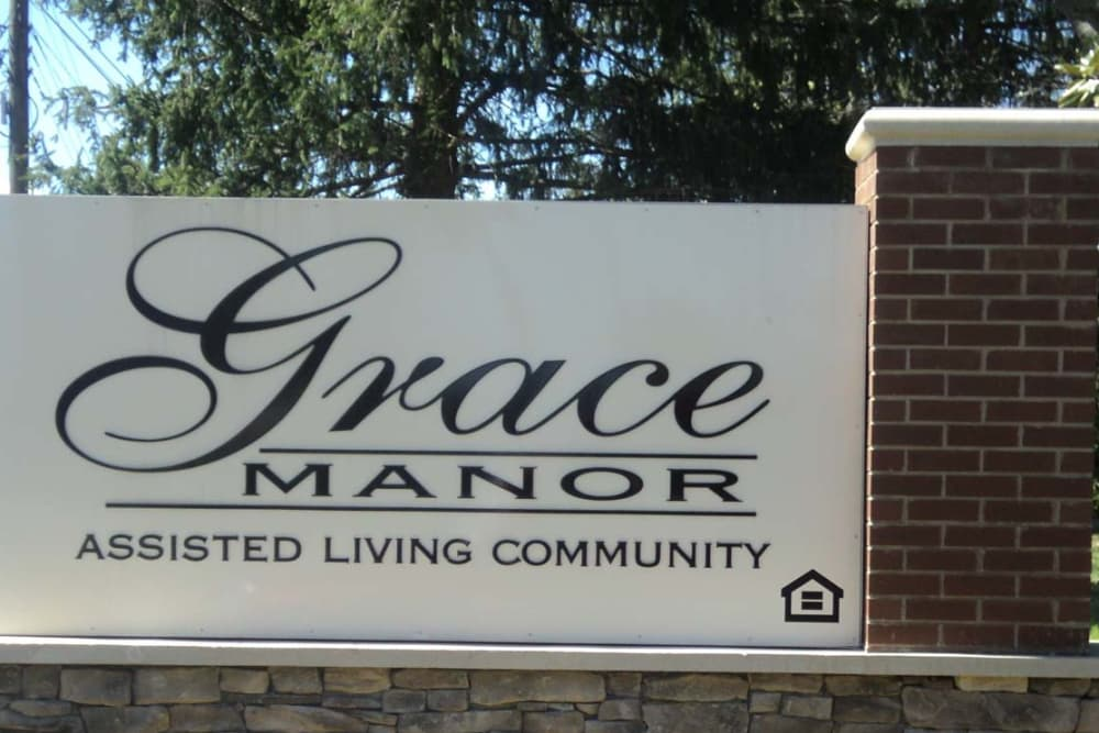 Main sign of Grace Manor Assisted Living in Nashville, Tennessee