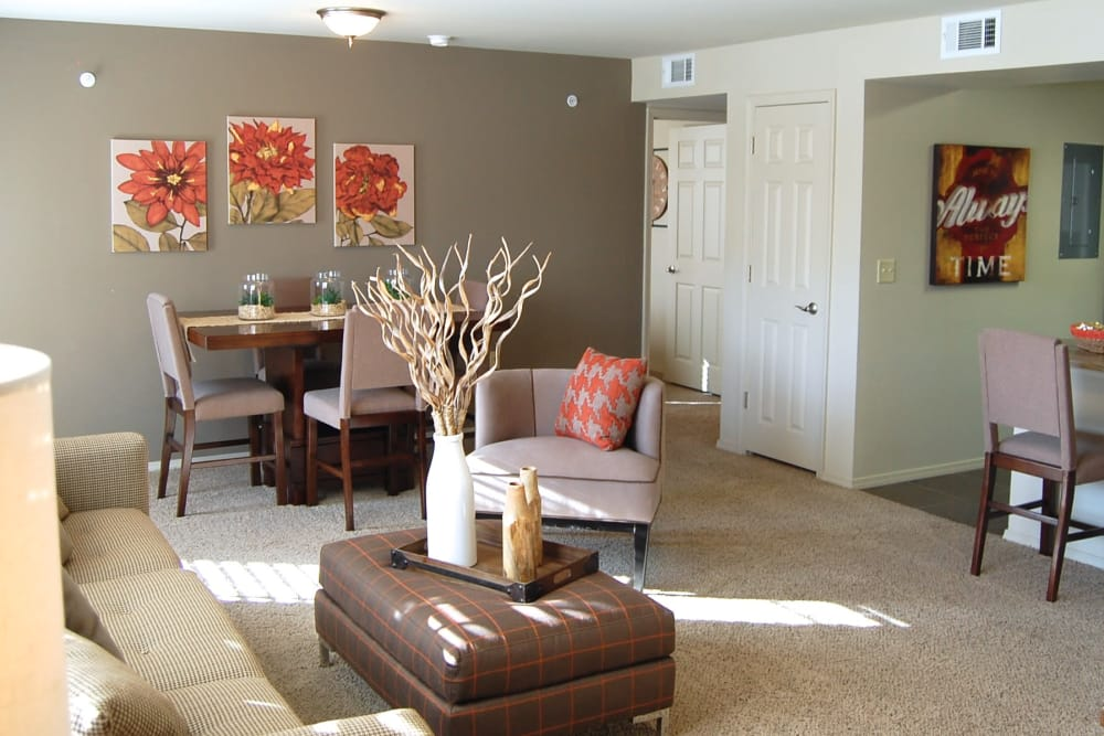 Carpeted living room at Park at Coulter in Amarillo, Texas