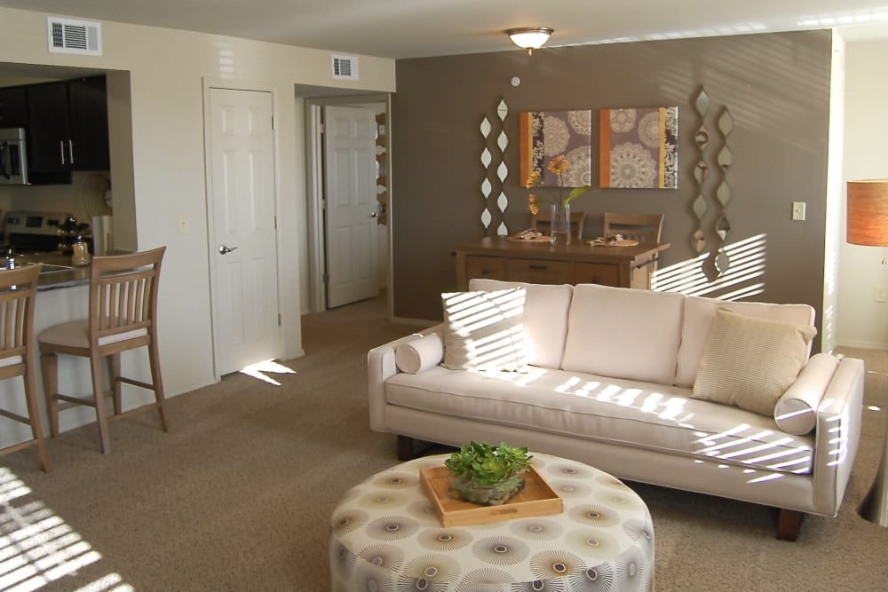 Beautiful, bright living room at Park at Coulter in Amarillo, Texas
