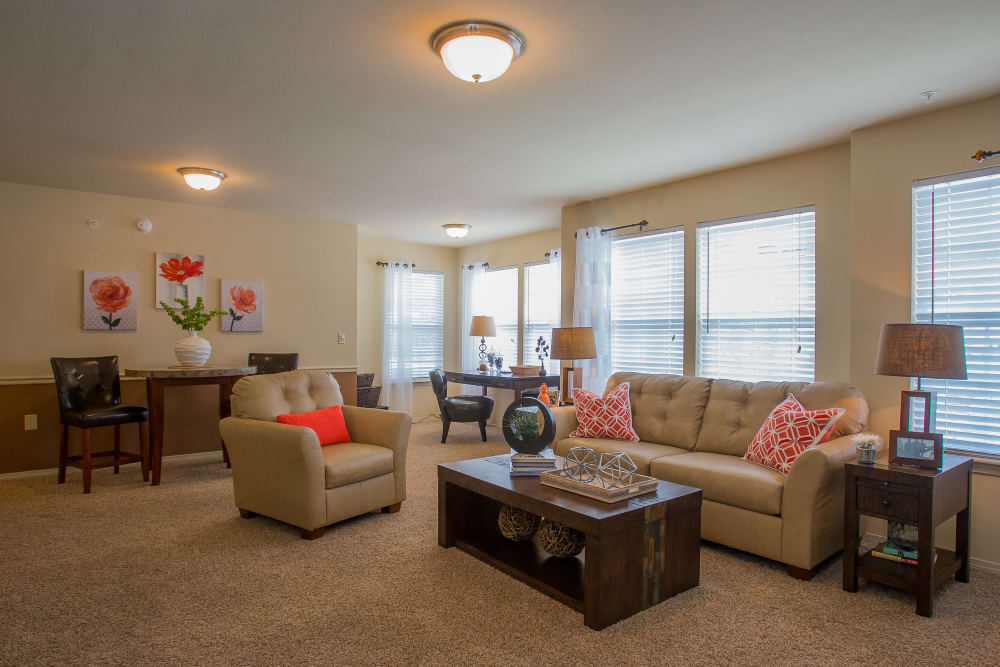 Beautiful, bright living room at Park at Mission Hills in Broken Arrow, Oklahoma