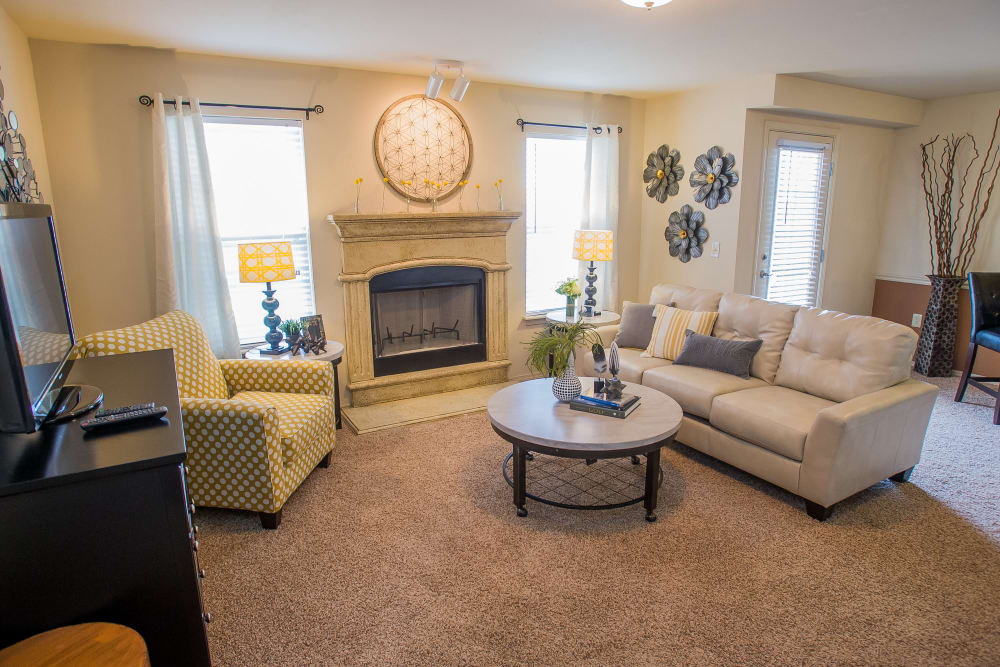Spacious living room at Park at Mission Hills in Broken Arrow, Oklahoma