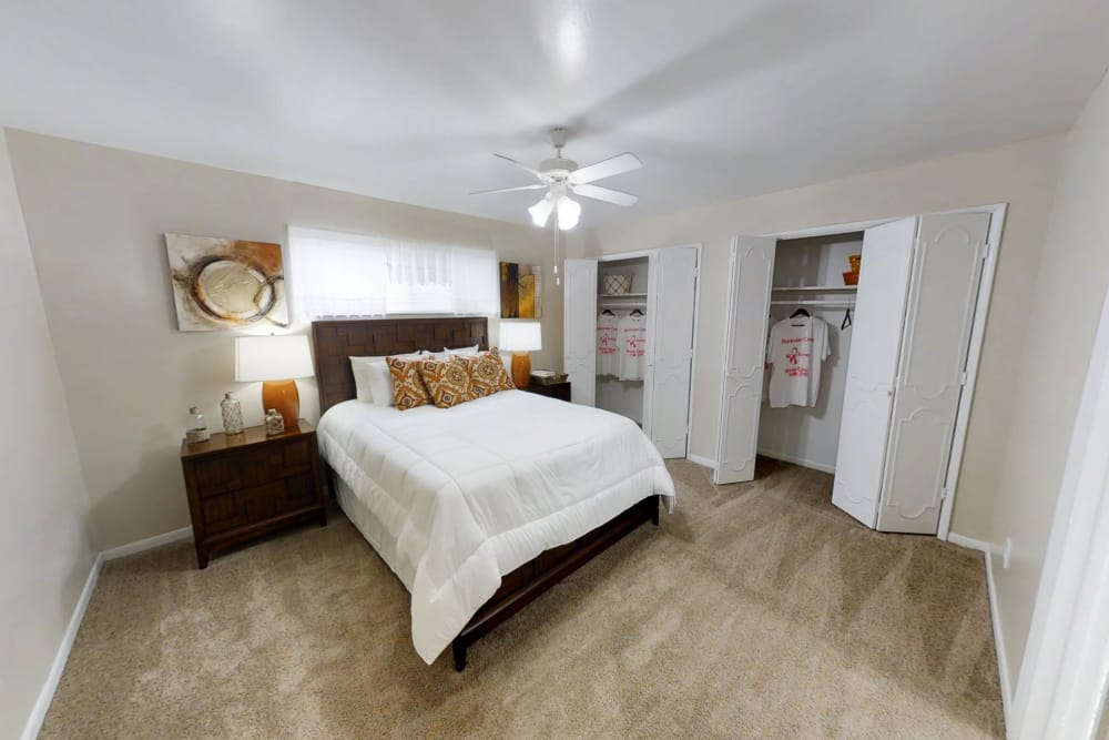 Well-lit living bedroom at Palms at Chimney Rock Apartments