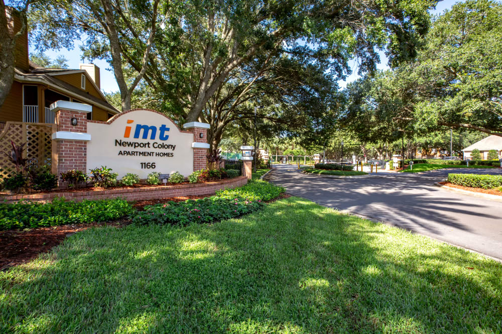 Our monument sign welcoming residents and their guests to IMT Newport Colony in Casselberry, Florida