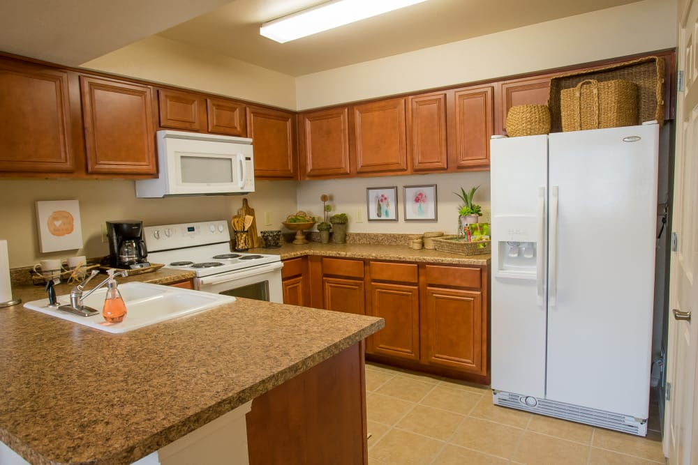 Nice size kitchen at Nickel Creek Apartments in Tulsa, Oklahoma