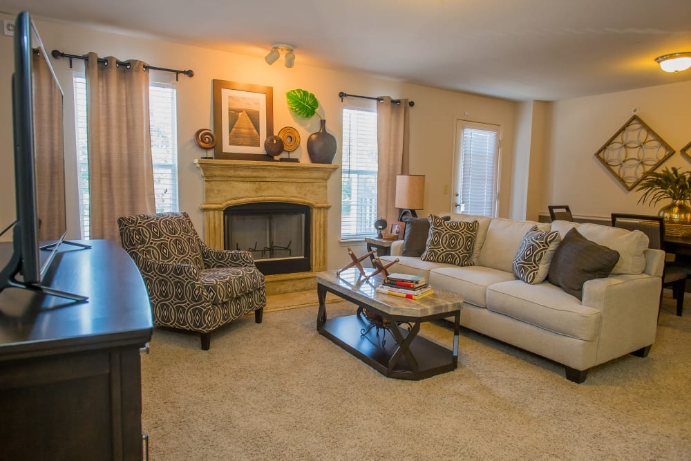 Well appointed living room at Nickel Creek Apartments in Tulsa, Oklahoma