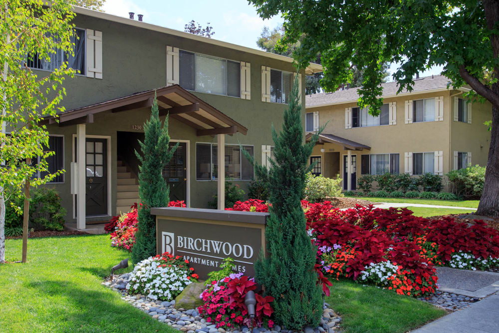 Front entrance to Birchwood in Sunnyvale, California