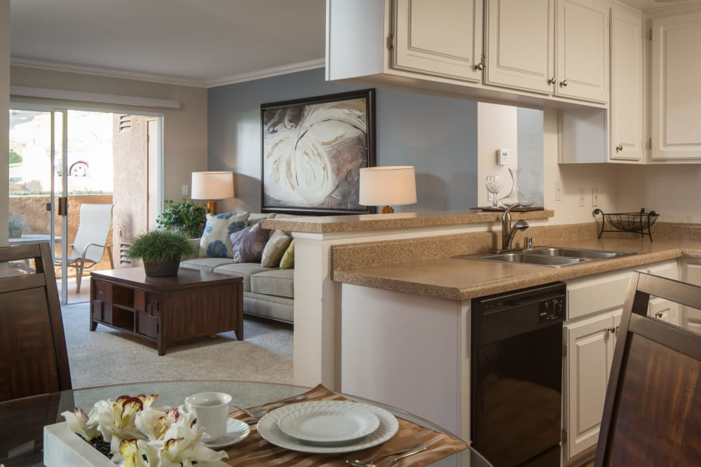 Living room and kitchen at Shadow Ridge Apartment Homes in Simi Valley, California