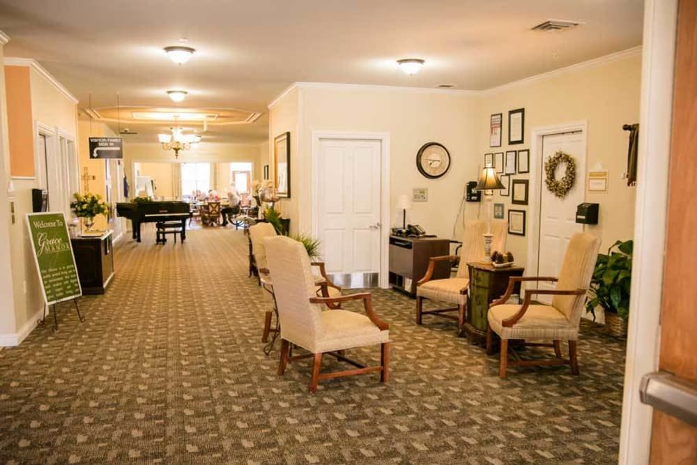 Beautiful hall with commons areas at Grace Manor Assisted Living in Nashville, Tennessee