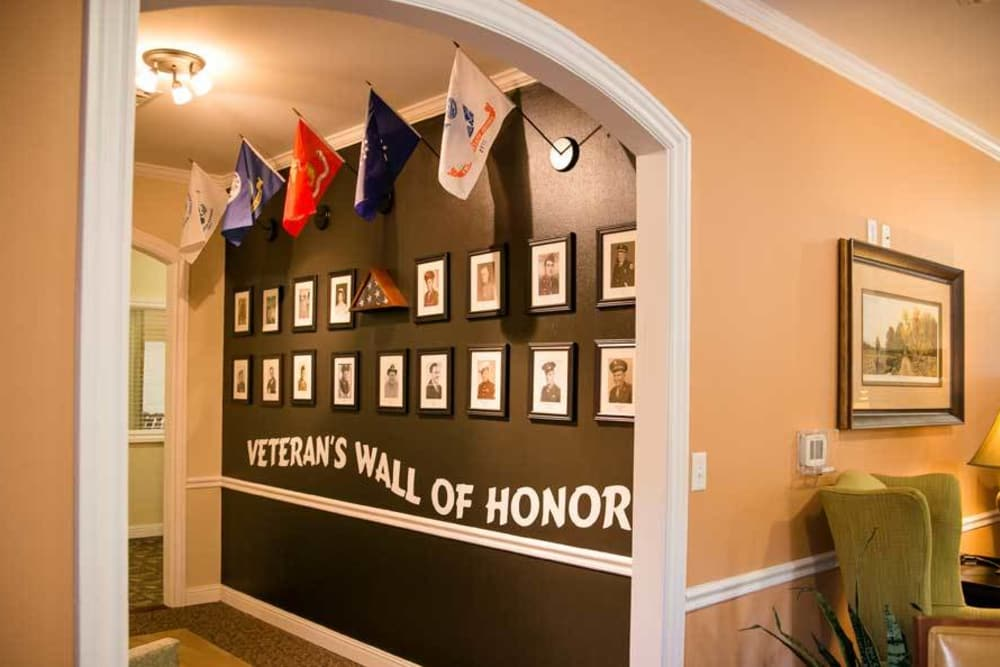 Veteran's wall of honor at Grace Manor Assisted Living in Nashville, Tennessee