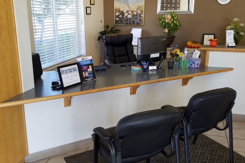 Leasing desk at Sundance Self Storage in Roseville, California