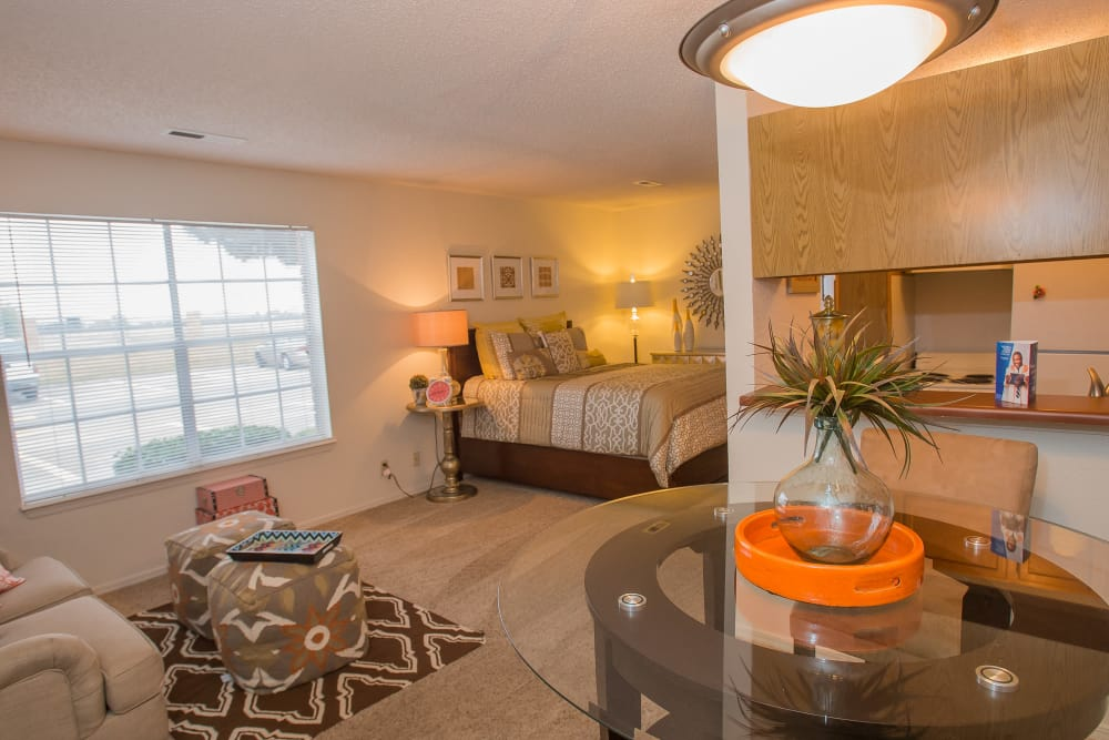 Studio apartment living space at Tammaron Village Apartments in Oklahoma City, Oklahoma