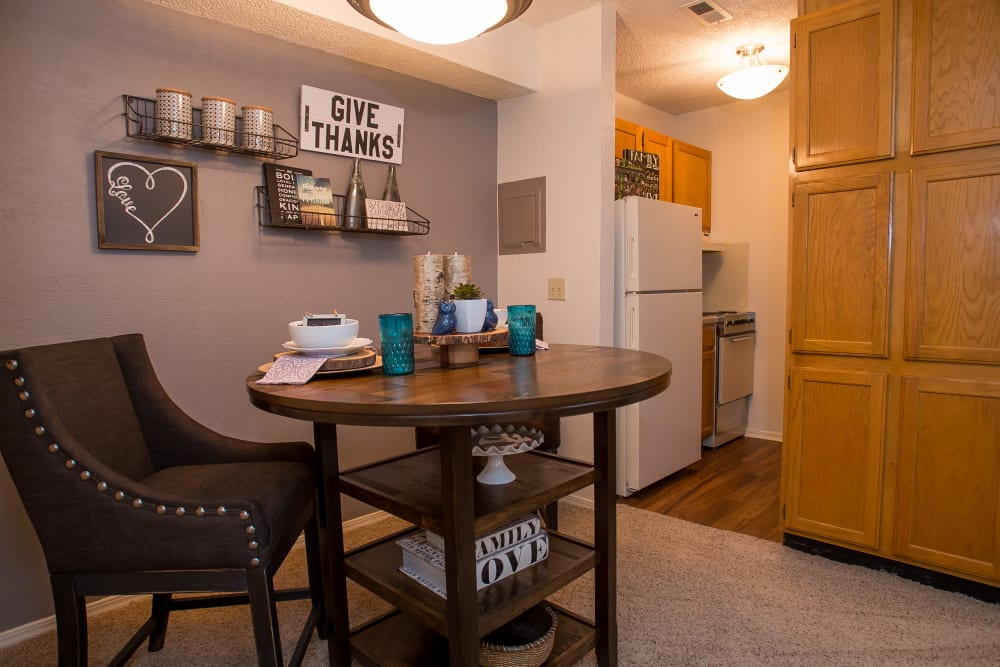 Cozy dining room at Tammaron Village Apartments in Oklahoma City, Oklahoma