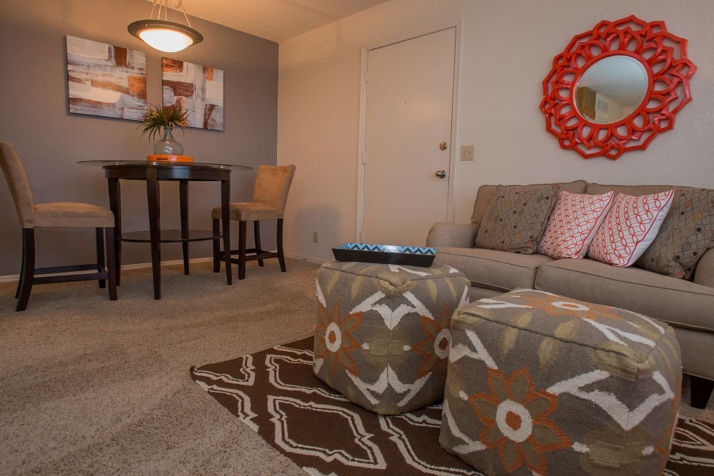 Spacious living area at Tammaron Village Apartments in Oklahoma City, Oklahoma