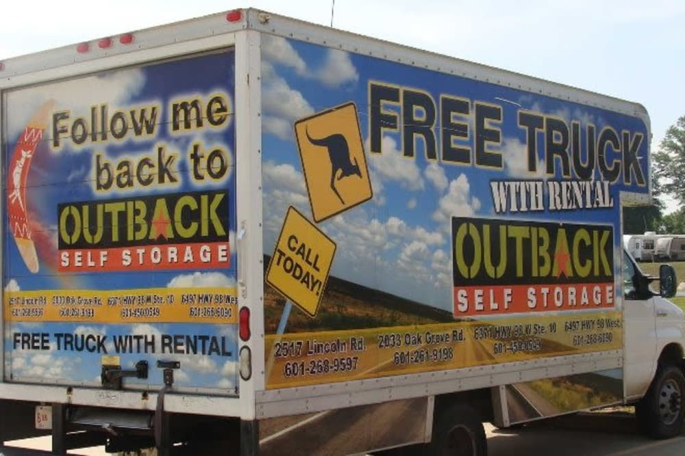 Follow our truck to Outback Self Storage in Hattiesburg, Mississippi