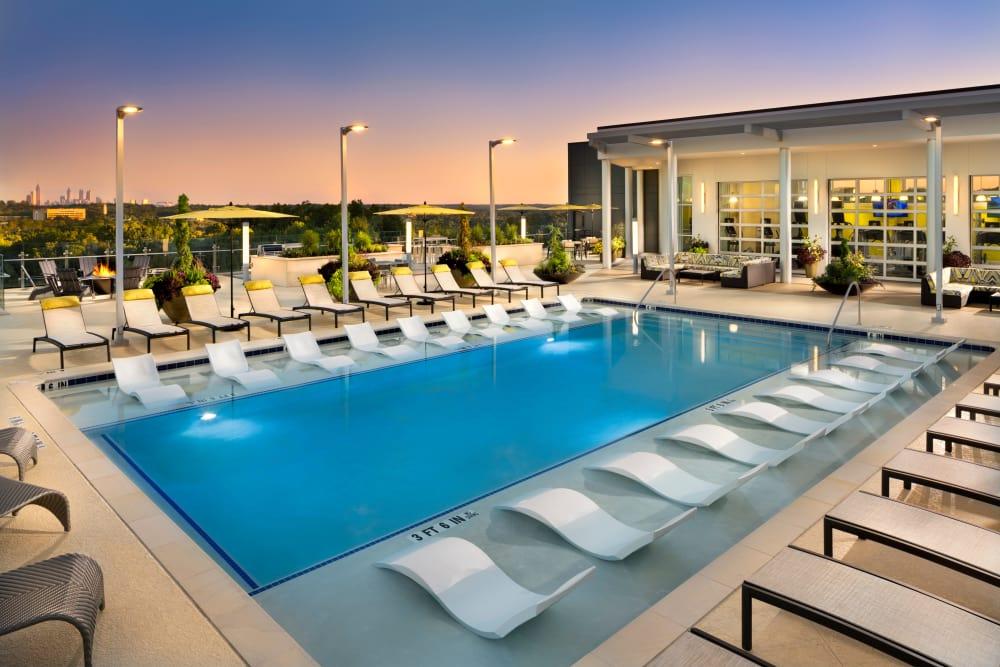 Swimming pool at dusk at The Encore in Atlanta, Georgia