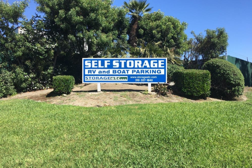 Self Storage, RV, and Boat Parking Sign at Storage Etc... Carson