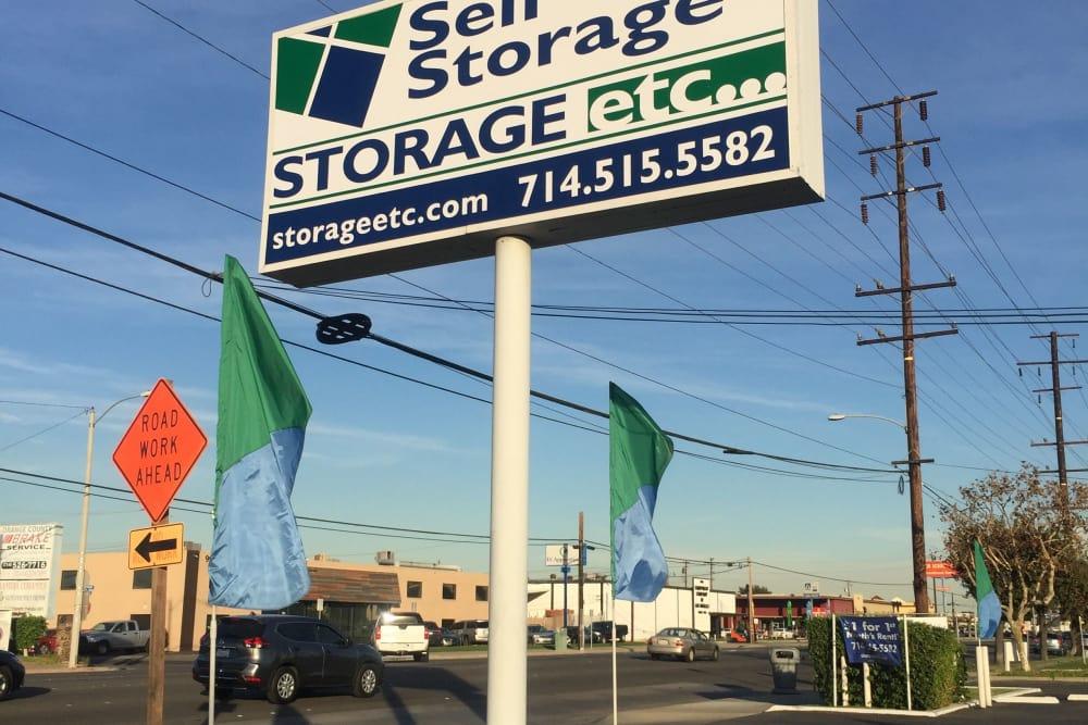 Storage Facility Sign at Storage Etc... Anaheim