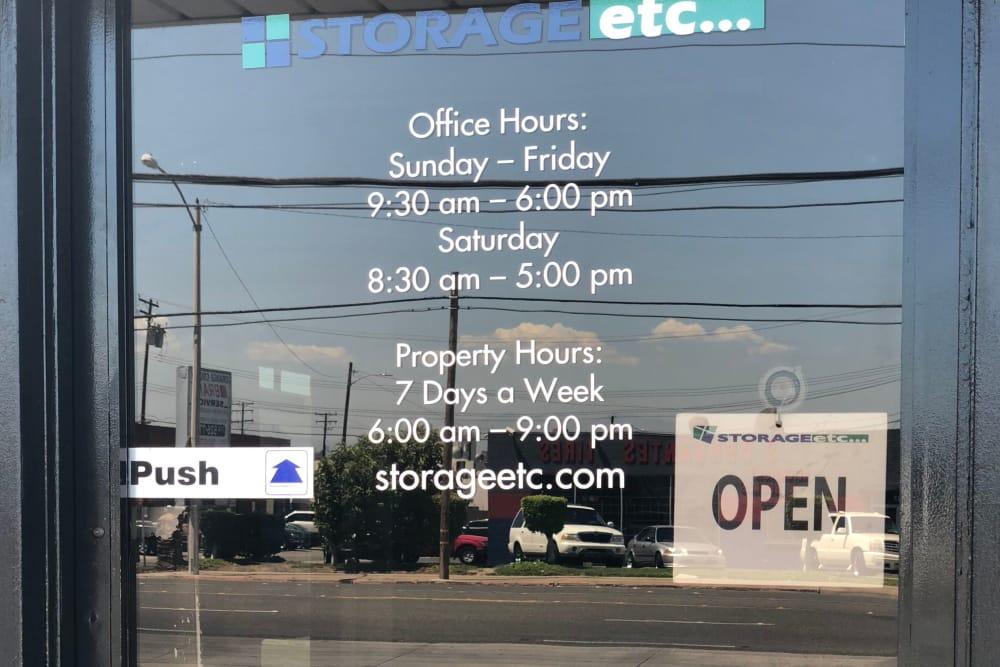 Self Storage Office Front Door at Storage Etc... Anaheim