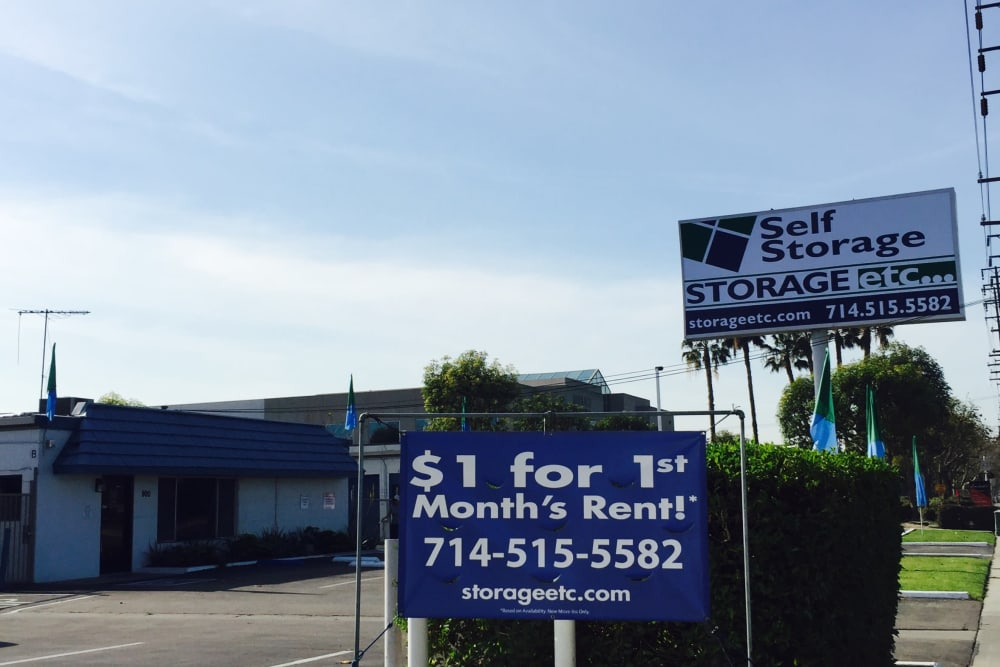 Storage Facility Front Sign at Storage Etc... Anaheim