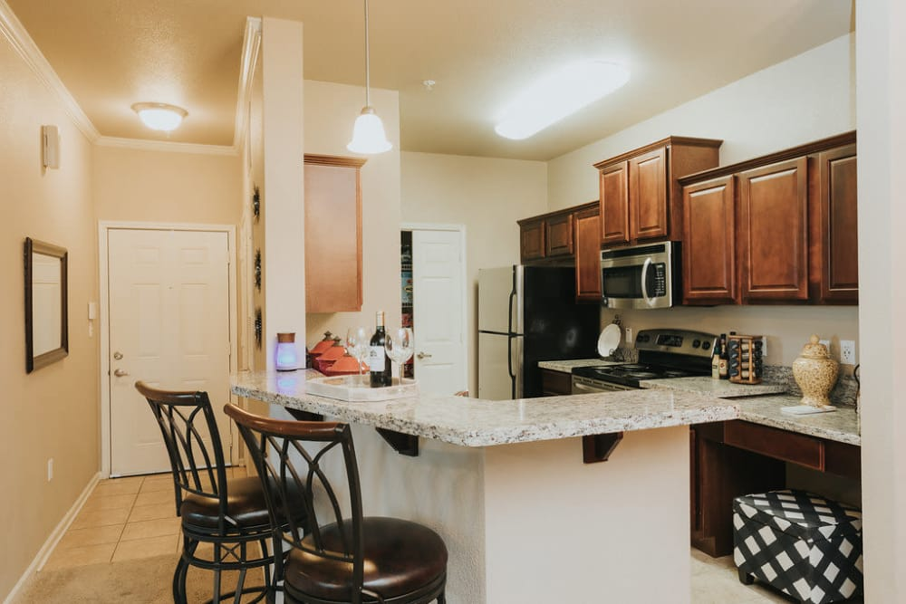 Open kitchen at Belmere Luxury Apartments in Houma, LA