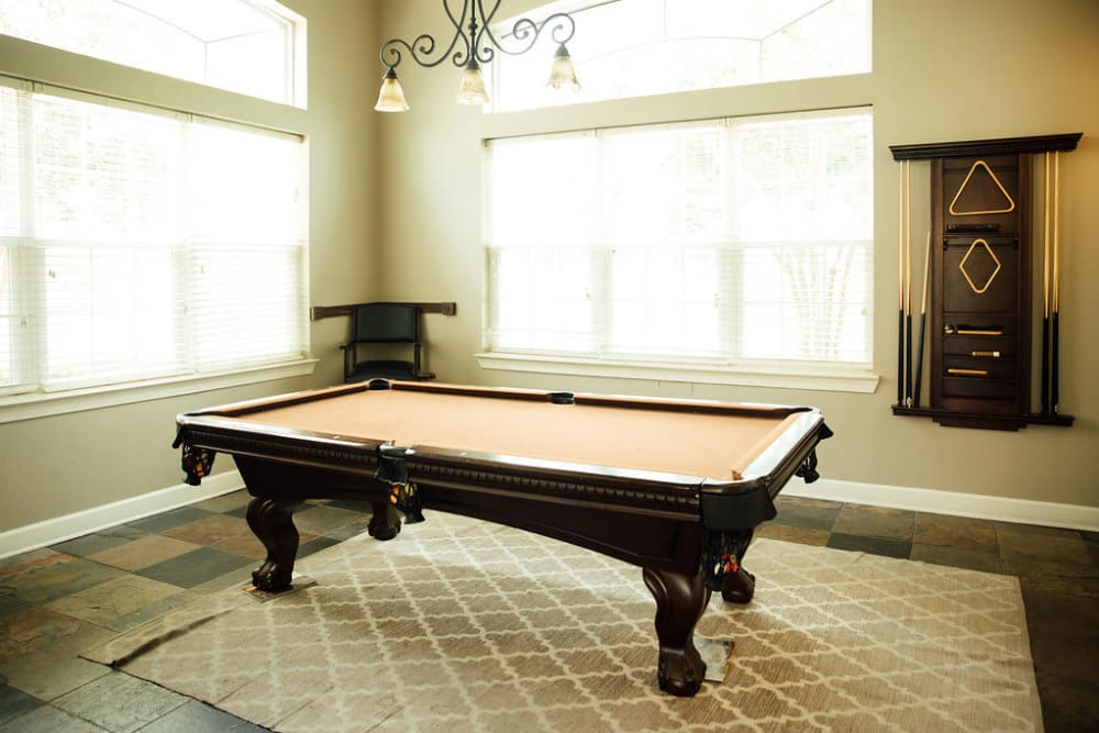 A billiards table at Belmere Luxury Apartments in Houma, LA