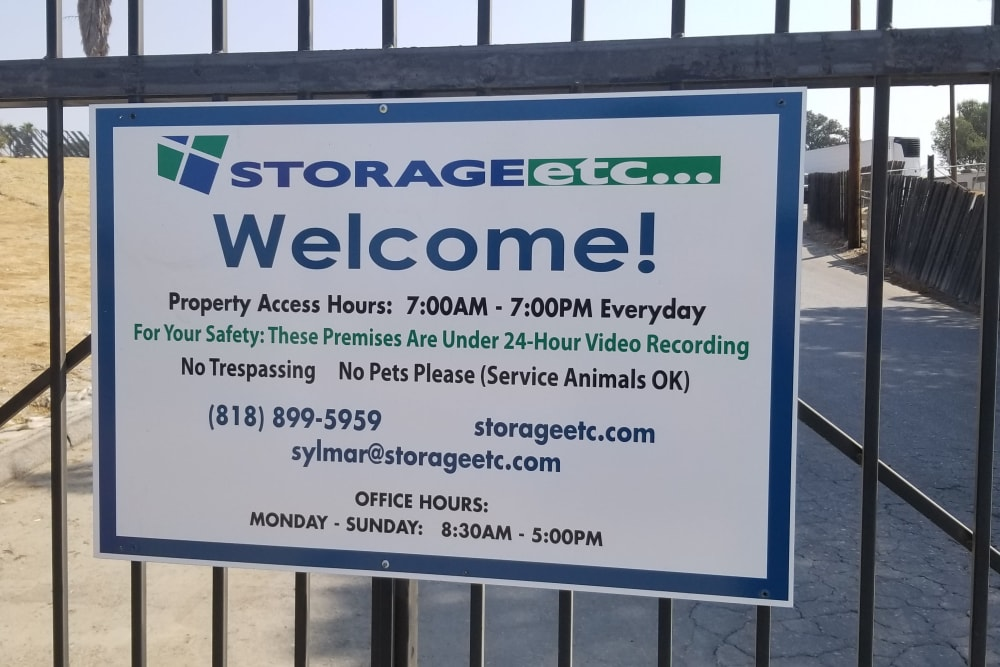 Welcome sign at Storage Etc... Sylmar