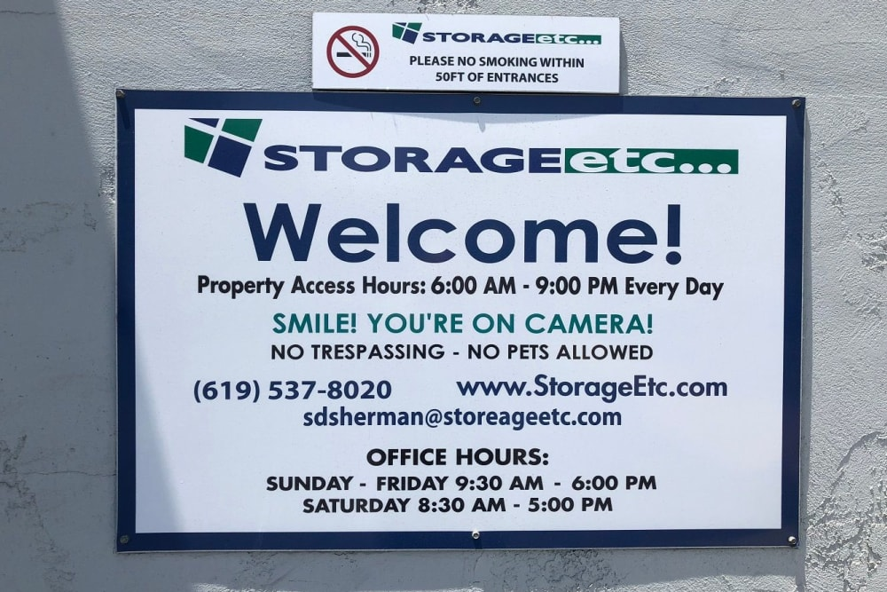 Welcome Sign at Storage Etc Sherman St