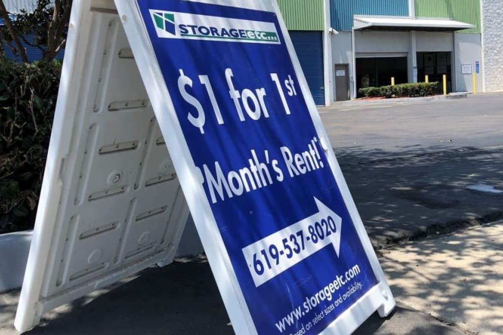 Storage Unit Specials in San Diego CA at Storage Etc Sherman St