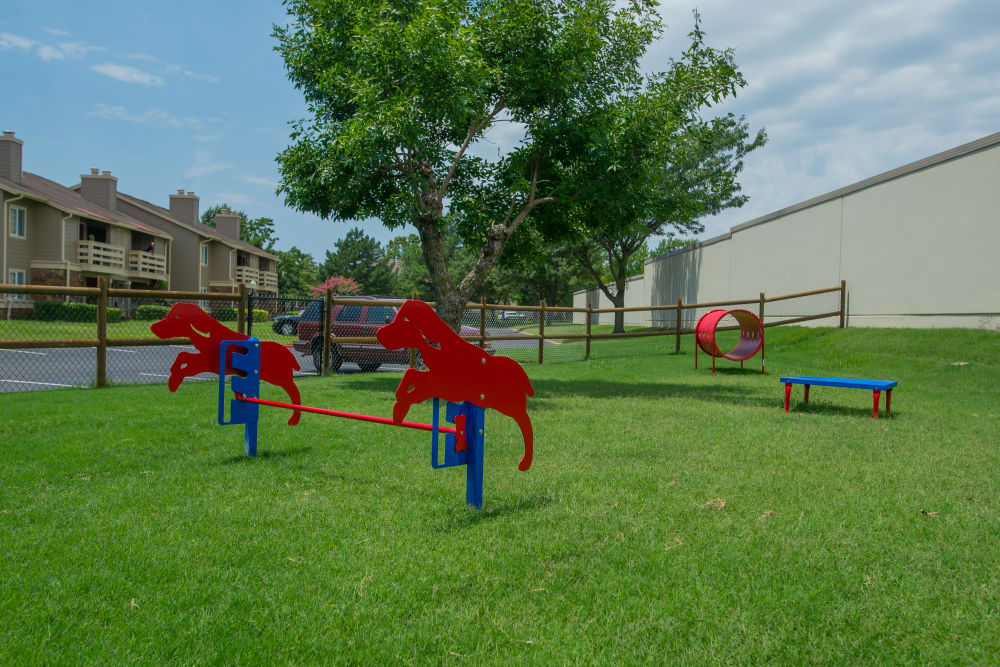 Onsite dog park with agility training course at Chardonnay in Tulsa, Oklahoma