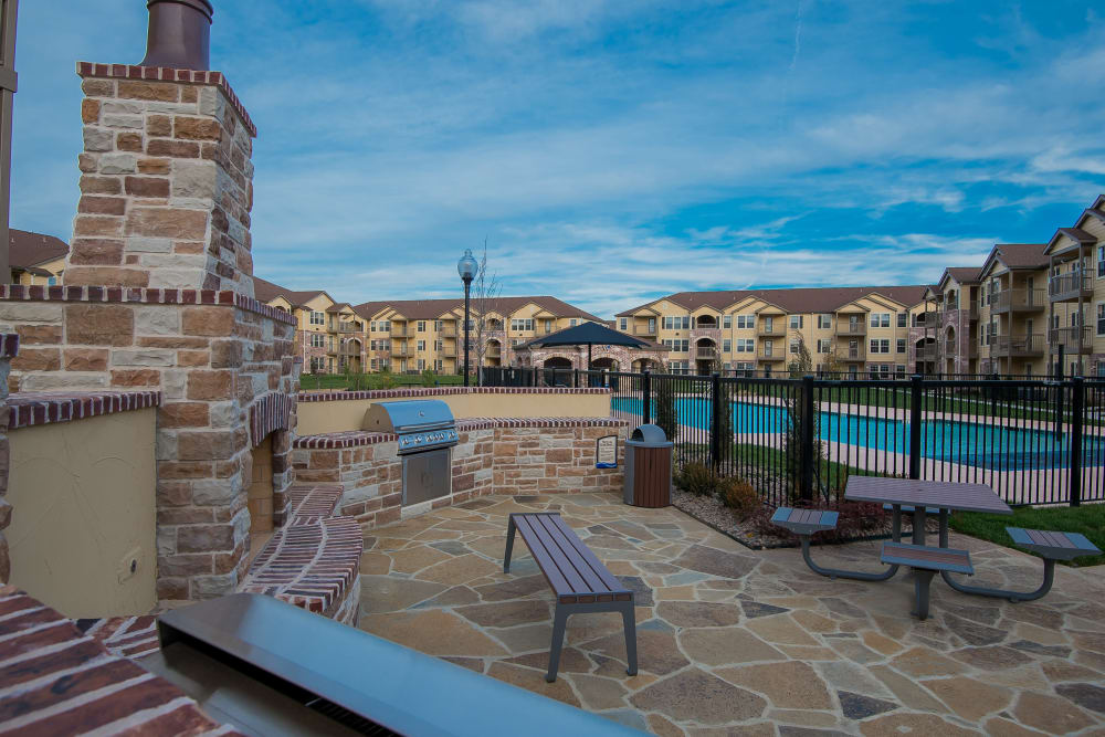 Outdoor patio at Portico at Friars Creek Apartments in Temple, Texas