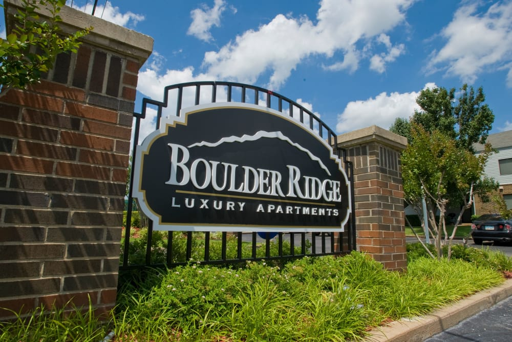 Sign for Boulder Ridge in Tulsa, Oklahoma
