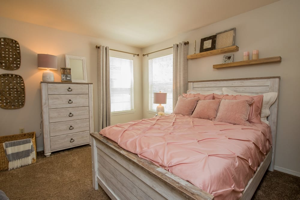 Spacious bedroom at The Remington Apartments in Wichita, Kansas