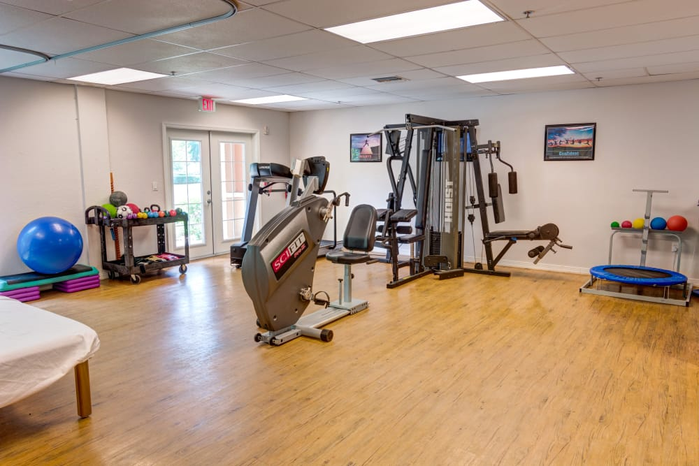 Gym available at Brentwood at St. Pete in St. Petersburg, Florida.