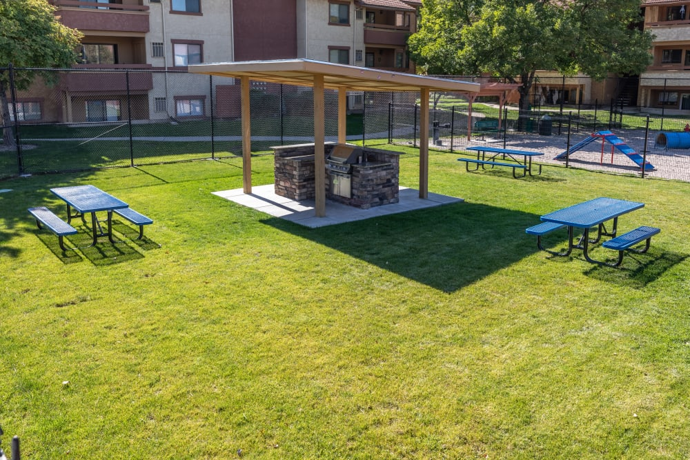 outdoor covered bbq grills and picnic area